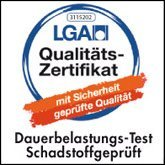 LGA Qualitäts-Zertifikat – Dauerbelastungs-Test, Schadstoffgeprüft