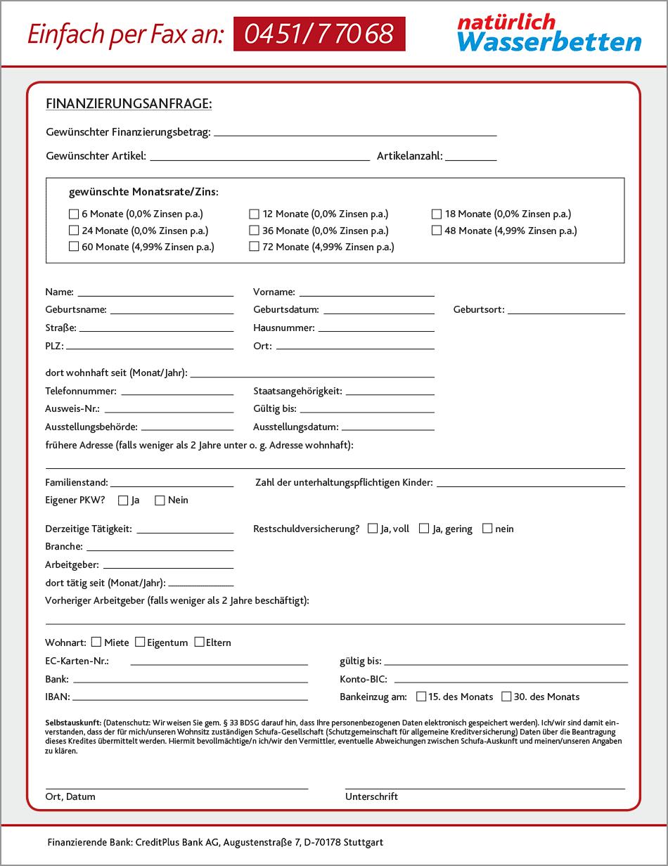 Finanzierungsseite Faxvordruck